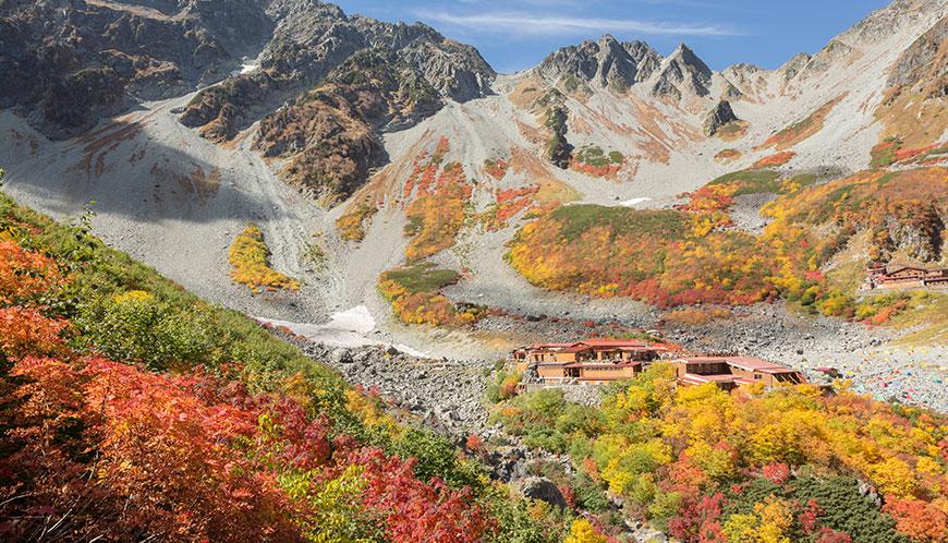 涸沢の紅葉。山登りをしている人にとって一番有名な紅葉スポットではなかろうか?紅葉の色が強すぎて普通に撮ってしまうと赤が破綻してしまうため色は抑えめにしているがコレです。